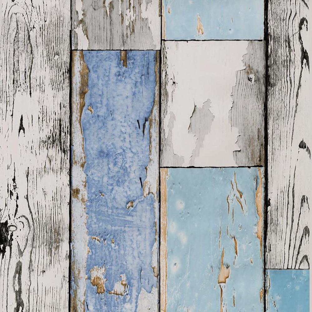 Kék kopott deszka mintás öntapadós tapéta 90cm x 15m