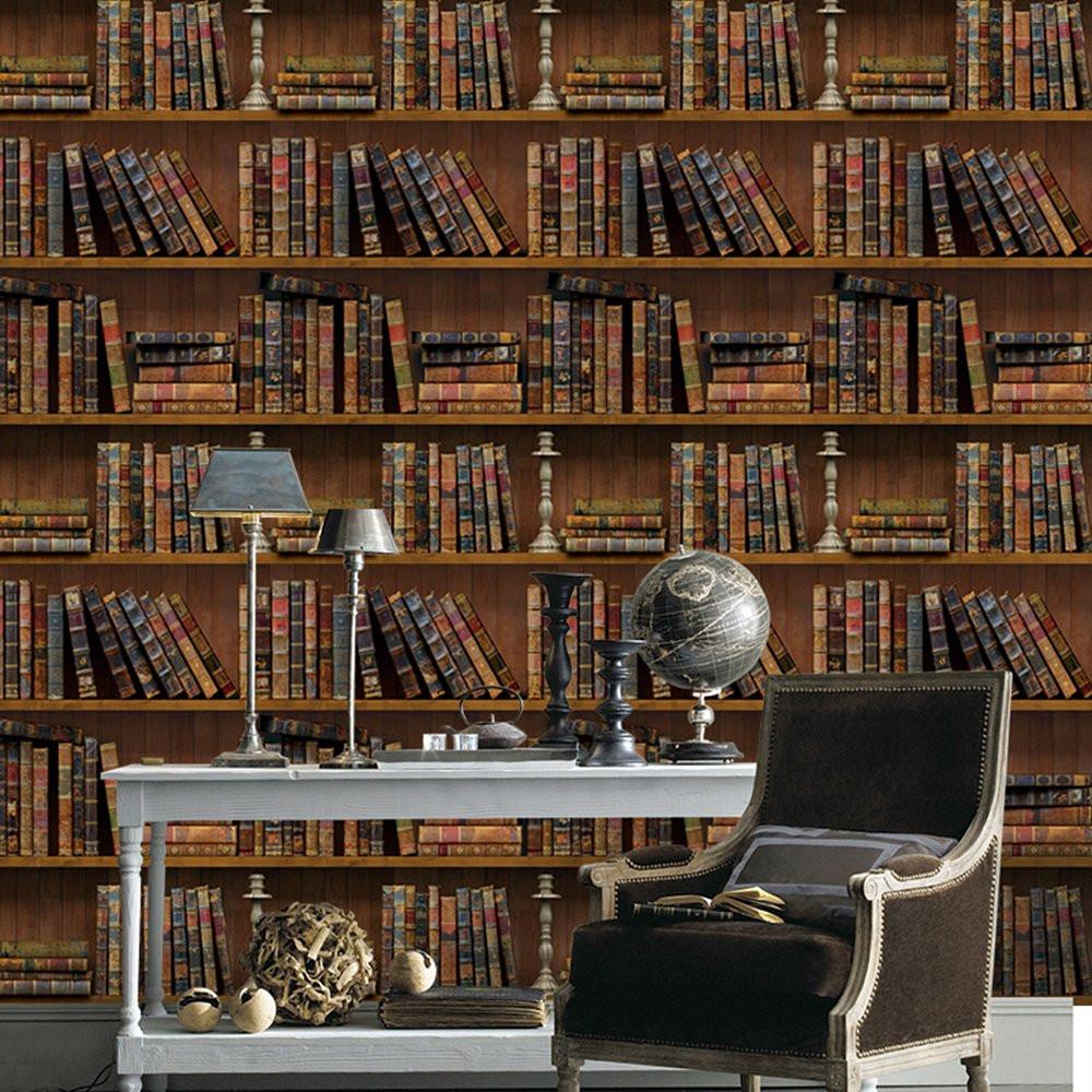 Antik könyvespolc, 3D öntapadós tapéta