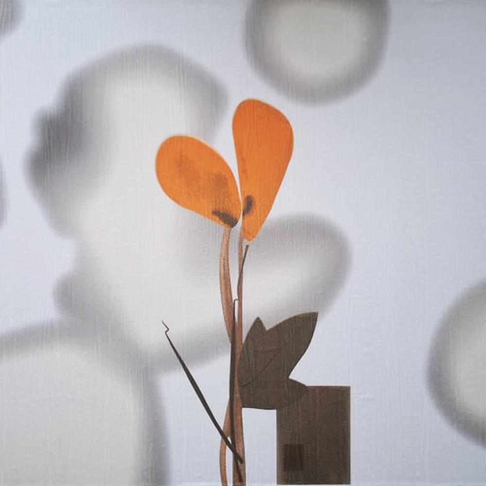 Narancs virág mintás öntapadós tapéta