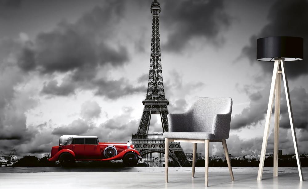 Eiffel-torony piros autóval, poszter tapéta 375*250 cm