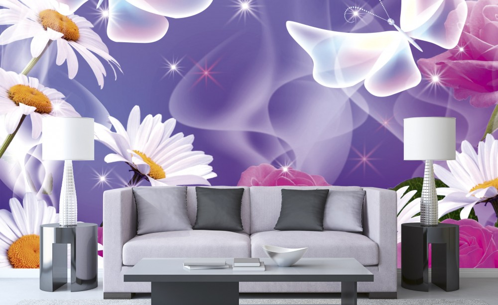 Lila háttér előtt virágok pillangókkal, poszter tapéta 375*250 cm