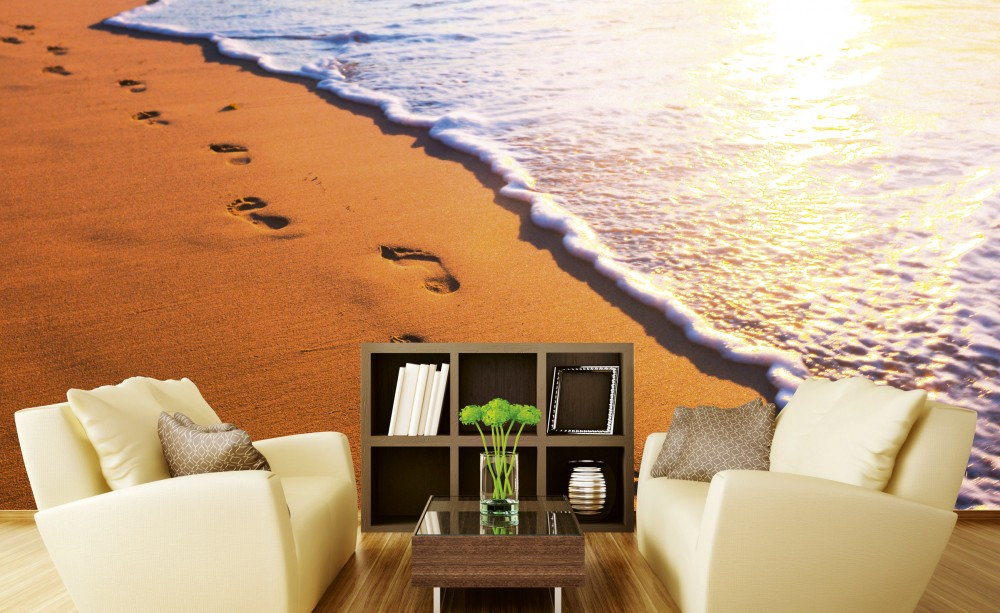 Lábnyomok a homokban, poszter tapéta 375*250 cm