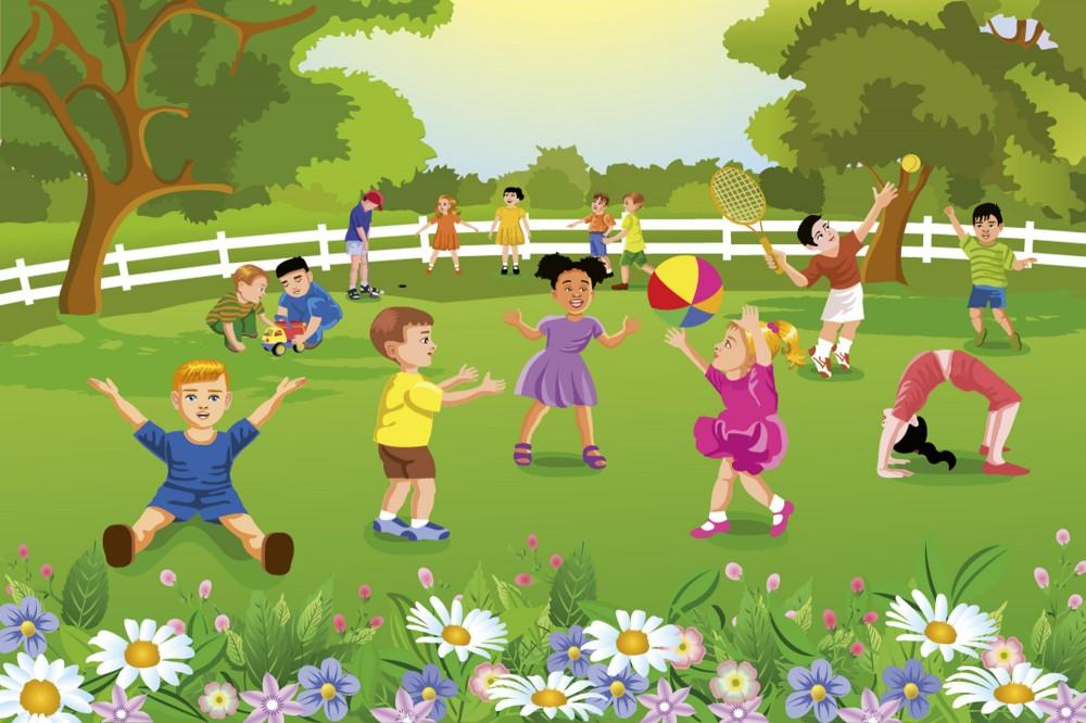 Gyerekek a kertben, poszter tapéta 375*250 cm