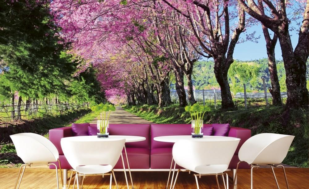 Rózsaszín virágos út, poszter tapéta 375*250 cm
